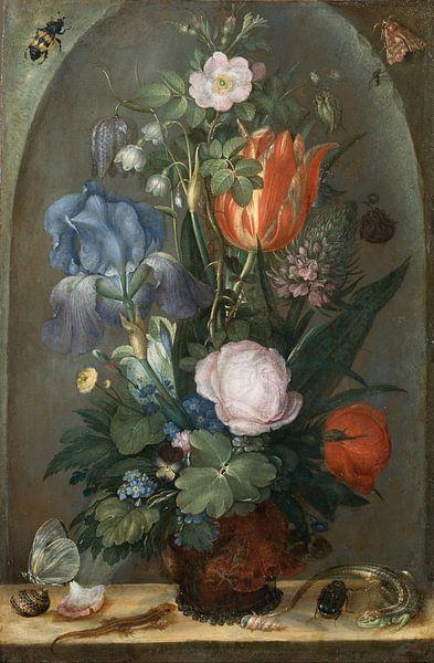 Roelant Saverij, Flower Still Life with Two Lizards van Meesterlijcke Meesters
