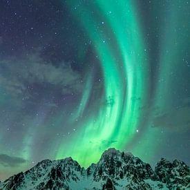 Nordlichter oder Aurora Borealis in der sternenklaren Nacht über den schneebedeckten Berggipfeln der von Sjoerd van der Wal