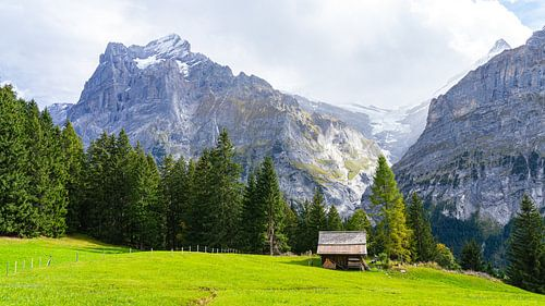 Hutje met bergen op de achtergrond in Grindelwald, Zwitserland