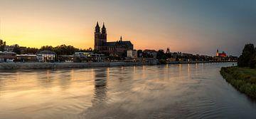 Panorama de Magdebourg au coucher du soleil
