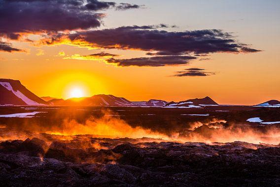 Zonsondergang Leirhnjukur IJsland