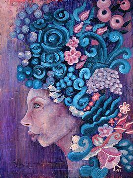 Flora in violet und blau