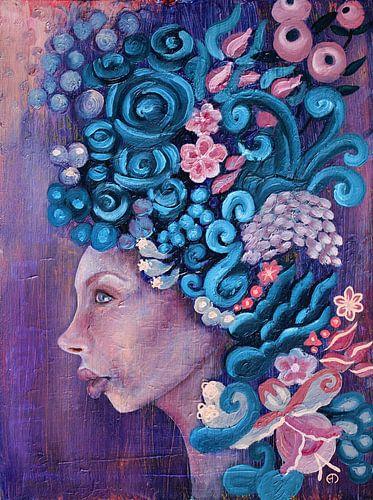 Flora in paars en blauw van