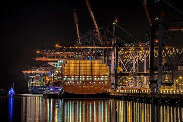 Containerschip bij nacht van Alexander Schulz