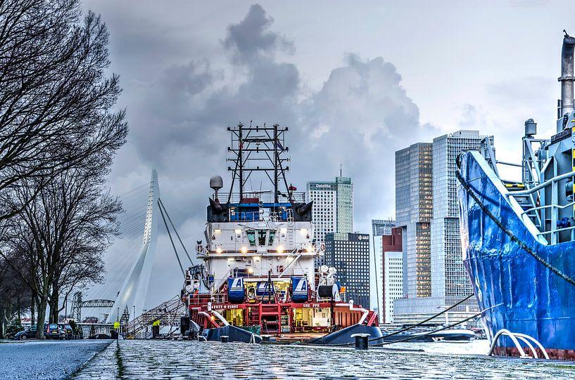Rotterdam: bruggen, boten en hoge gebouwen van Frans Blok