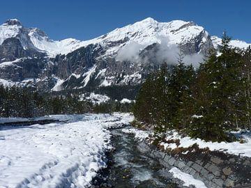 Beek in besneeuwd berglandschap von M de Vos