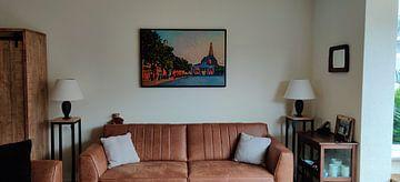 Klantfoto: Kleurrijk schilderij van Groningen: Vismarkt en Aa-kerk op Zomeravond