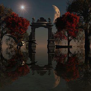 Jagende uil boven water in volle maan