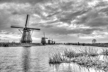 Kinderdijk molens  in zwart-wit van