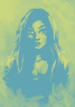 Duotone groengeel en blauw portret van Wanddecoratie
