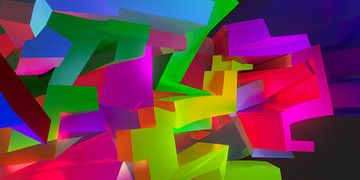 Ruimtelijk en modern 3D graffiti kunstwerk van Pat Bloom - Moderne 3d en abstracte kubistiche kunst