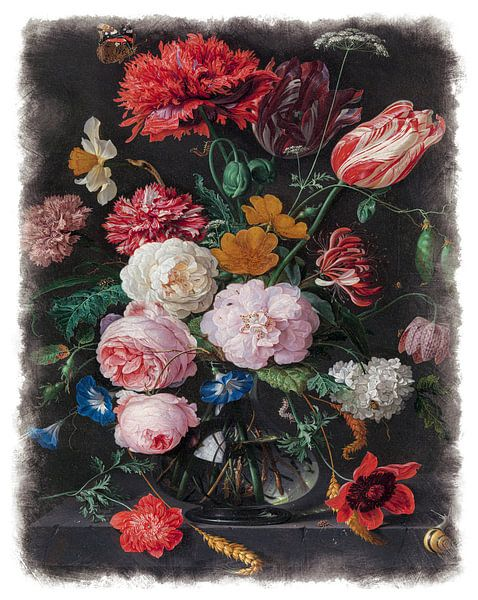 Oude Meesters serie #6 - Stilleven met bloemen in een glazen vaas, Jan Davidsz. de Heem van Anita Meis