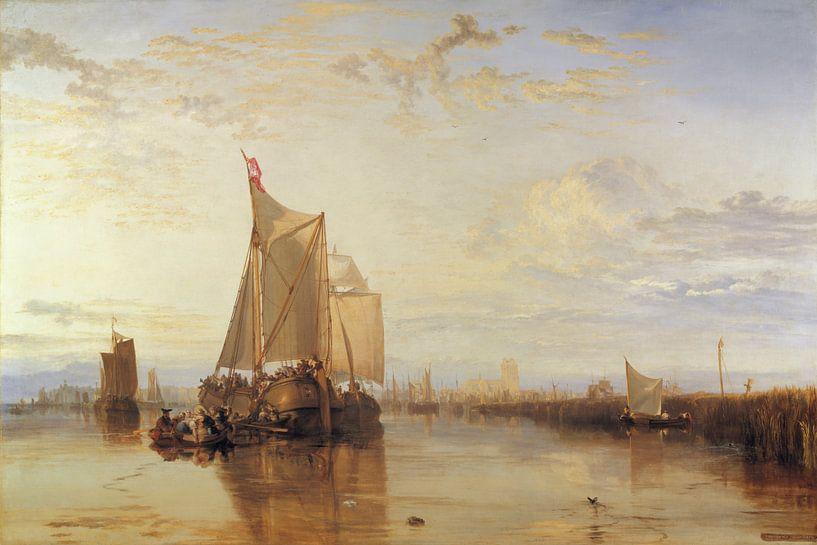 Dort of Dordrecht: De Dortse pakketboot van Rotterdam bij windstilte, Joseph Mallord William Turner van Meesterlijcke Meesters