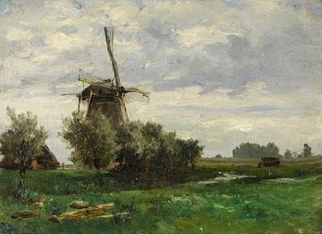 Carlos de Haes-Windmühlenlandschaft, Wiesenlandschaft, Antike Landschaft
