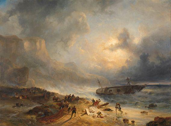 Schipbreuk op een rotsachtige kust - Wijnand Nuijen