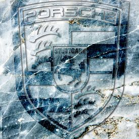 Porsche logo op blauw marmer van 2BHAPPY4EVER.com photography & digital art