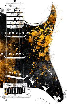 Gitarre 34 music art schwarz und gold #guitar #music von JBJart Justyna Jaszke
