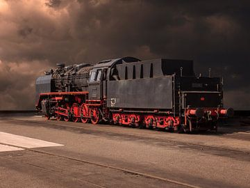 Dampflokomotive in surrealistischer Landschaft von Robin Jongerden