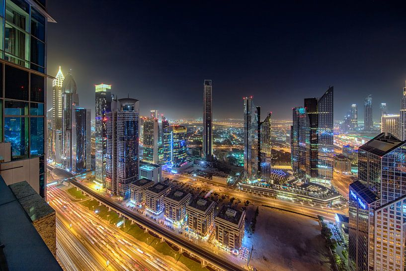 Dubai International Financial Centre vanaf  Shangri La Hotel van Rene Siebring