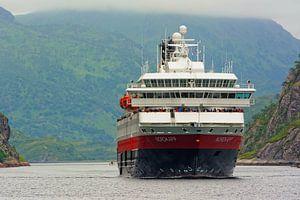 Hurtigruten ships enters Trollfjord