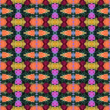 Fotografisch patroon met Rode, Oranje, Gele en Roze Rozen van Ton Kuijpers