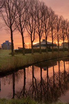 Zonsopkomst in Zoetermeer van Kyra Hoekema