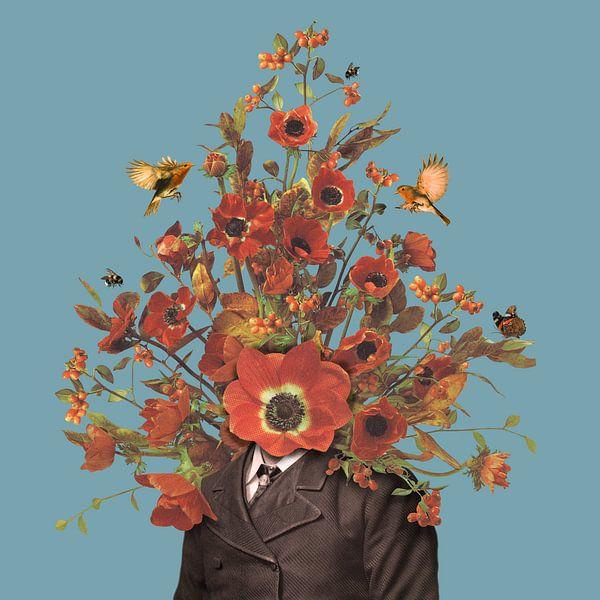 Portret met bloemen, hommels, roodborstjes en een vlinder (blauwe achtergrond) van toon joosen
