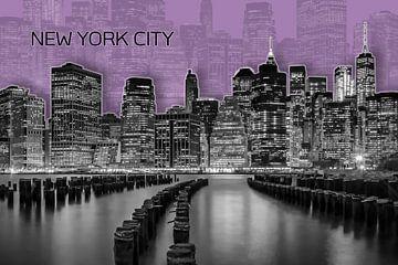 MANHATTAN Skyline | Graphic Art | purper van Melanie Viola
