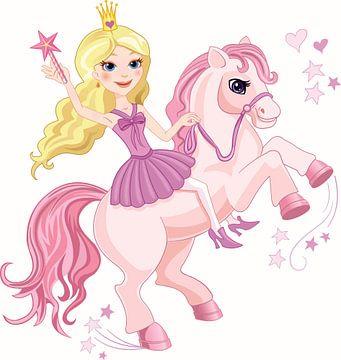 Prinses op een roze pony van Atelier Liesjes