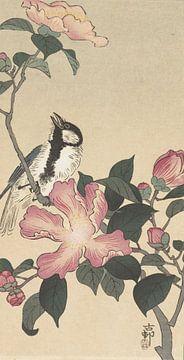 Kohlmeise am Zweig mit rosa Blüten von Ohara Koson