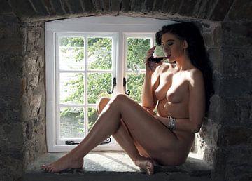 Die Bäuerin, nacktes Modell, das als Pin-up in einem Fenster posiert von Atelier Liesjes