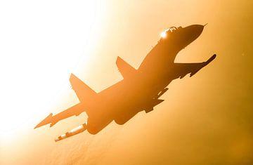 Su-27 vole droit devant le soleil sur Stefano S.