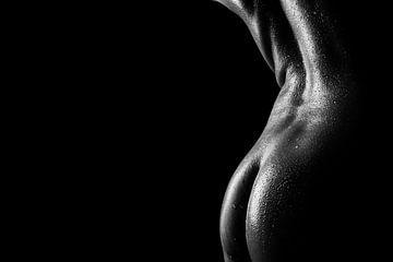Der geölte Körper einer nackten Frau bedeckt mit Wassertropfen von Retinas Fotografie
