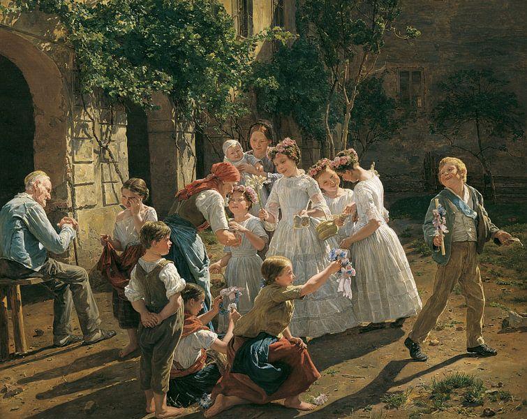 Am Fronleichnamsmorgen, Ferdinand Georg Waldmüller - 1857 von Het Archief