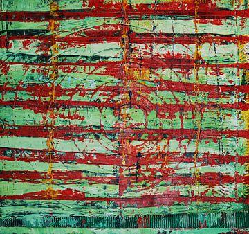 Rot grüne Streifen mit Kreis von Klaus Heidecker