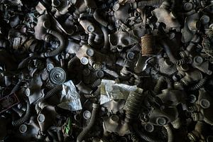Gasmaskers in Pripyat - Tsjernobyl.