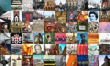 Alles aus London - Collage aus typischen Bildern der Stadt und der Geschichte von Roger VDB