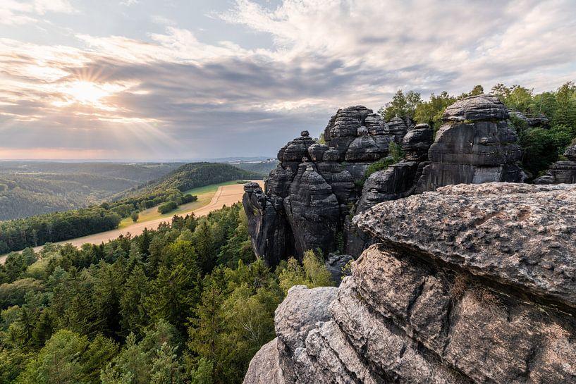 Elbsandsteingebirge - Ausblick im Abendlicht von Ralf Lehmann
