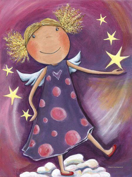 Blond engel schilderij voor kinderen van atelier buntepunkt - Kinder schilderij ...