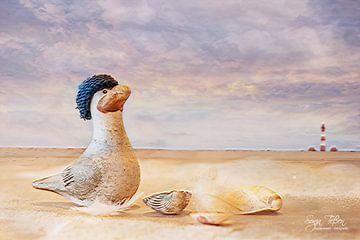 Meeuw op het strand van Sonja Tessen