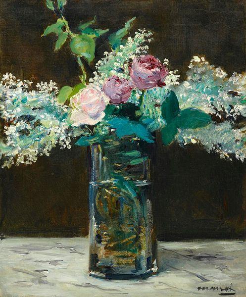 Vase mit weißen Flieder und Rosen, Edouard Manet von Meesterlijcke Meesters