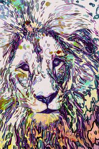 Leeuw in pastelkleuren van The Art Kroep