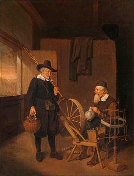 Interieur mit Fischer und Mensch neben einer Spule und Spool, Quiringh Gerritsz. van Brekelenkam