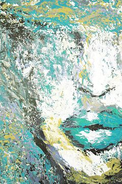 Blue Portret Paletmes schilderij van Dunja Paolo
