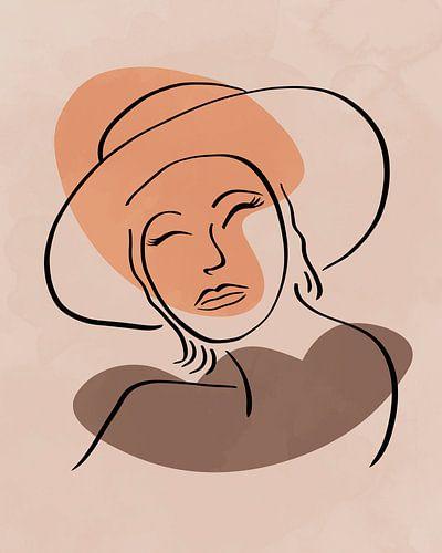 Vrouw met hoed lijn tekening met twee organische vormen in warme kleuren