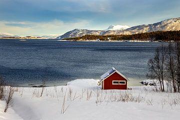 Rotes Häuschen im Winter Norwegen von Adelheid Smitt