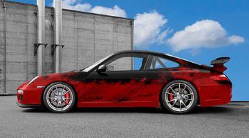 Porsche 911 GT3 Typ 997 Art Car in red-black von aRi F. Huber