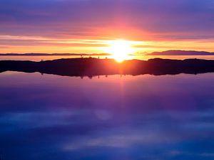 Middernacht zon Lofoten (Noorwegen)