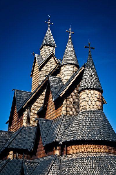 Staafkerk in Heddal van Jesse Meijers