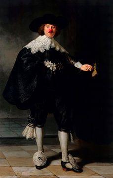 Rembrandt's Portret van Maerten Soolmans met clowns neus van Maarten Knops
